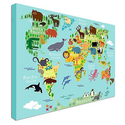 Childrens animal world map for kids canvas prints wall art childrens animal world map for kids canvas prints wall art great value gumiabroncs Images