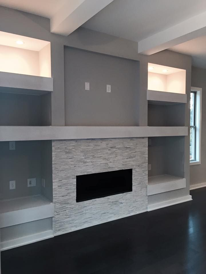 Recessed Tv Undermining Lighting Linear Fireplace Fireplace Design Living Room With Fireplace