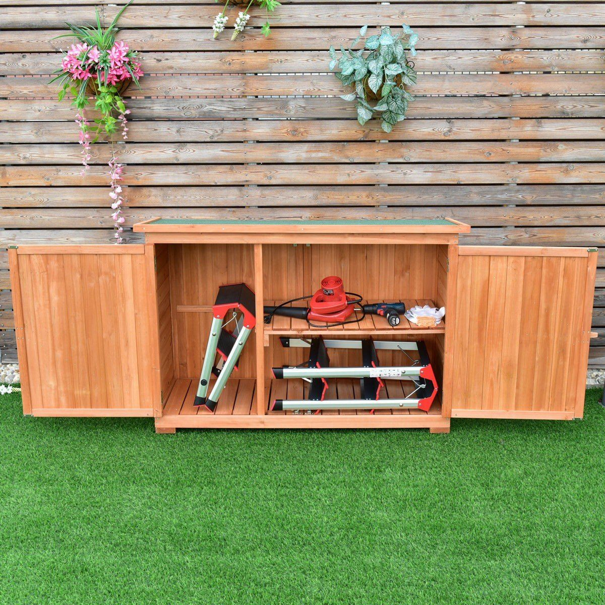 Goplus Outdoor Wooden Storage Shed Lockers Cabinet For Garden Yard With Double Doors