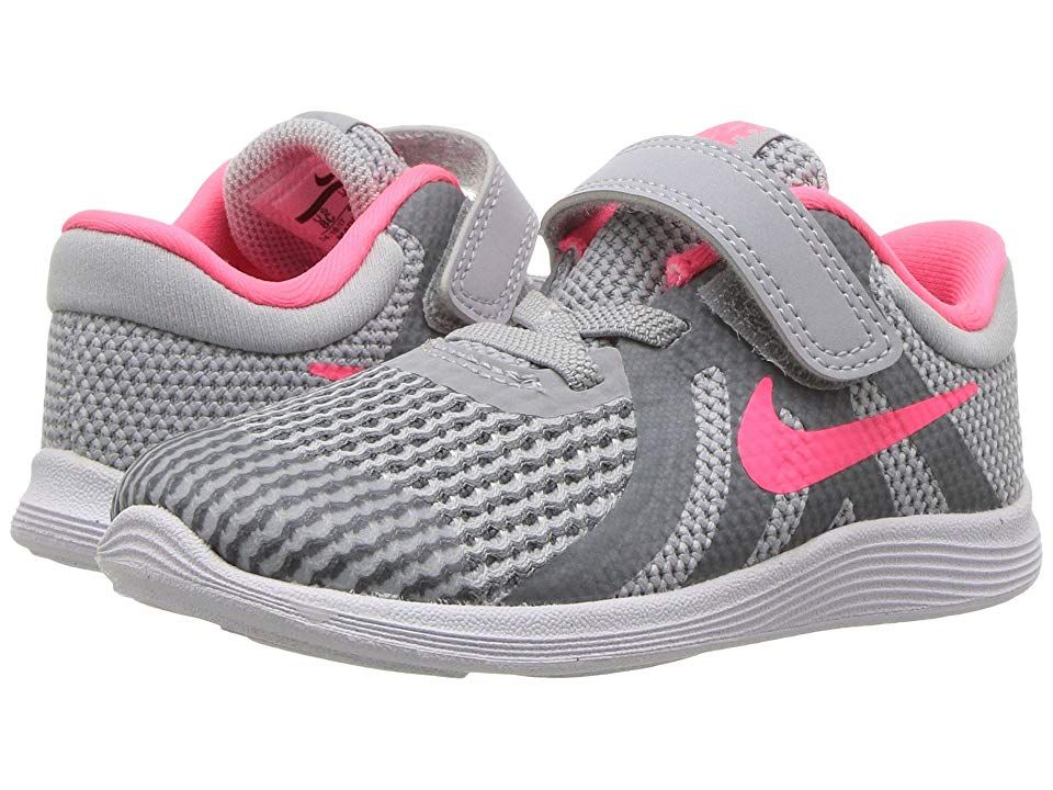 ce9db3531897d Nike Kids Revolution 4 (Infant Toddler) Girls Shoes Wolf Grey Racer Pink Cool  Grey White