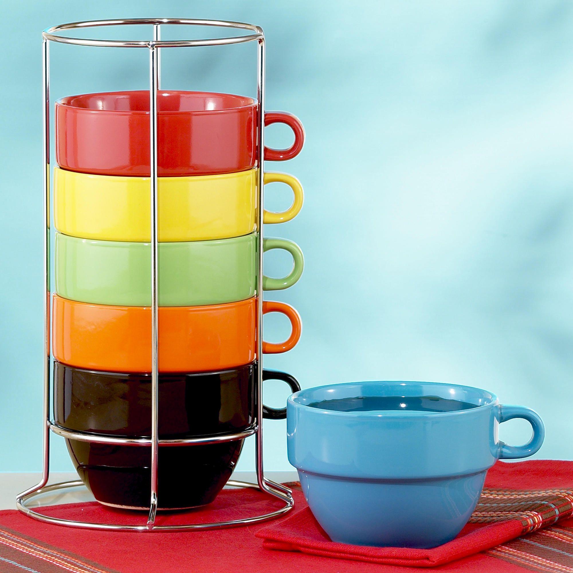 Multi-Color Jumbo Stacking Mugs Set of 6   World Market $17.99 ...