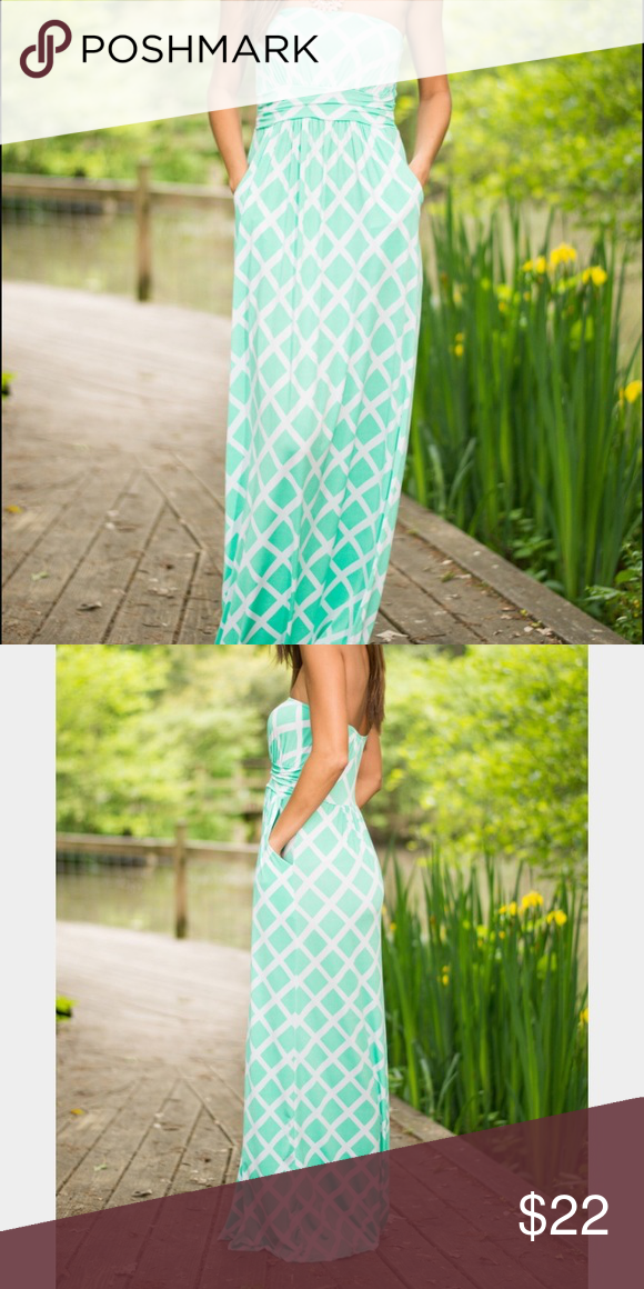 Loila Turquoise and White Lattice Maxi dress NWOT Turquoise and White lattice maxi dress. Has pocket and cinched at waist for definition. Elastic around top to help keep it up! Very Cute Maxi! Never worn so in perfect, like new condition Loila Dresses Maxi