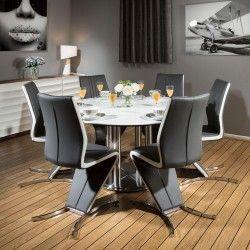 Round Dining Set White 150cm Dia Corian Table 6 X Modern Grey Chairs