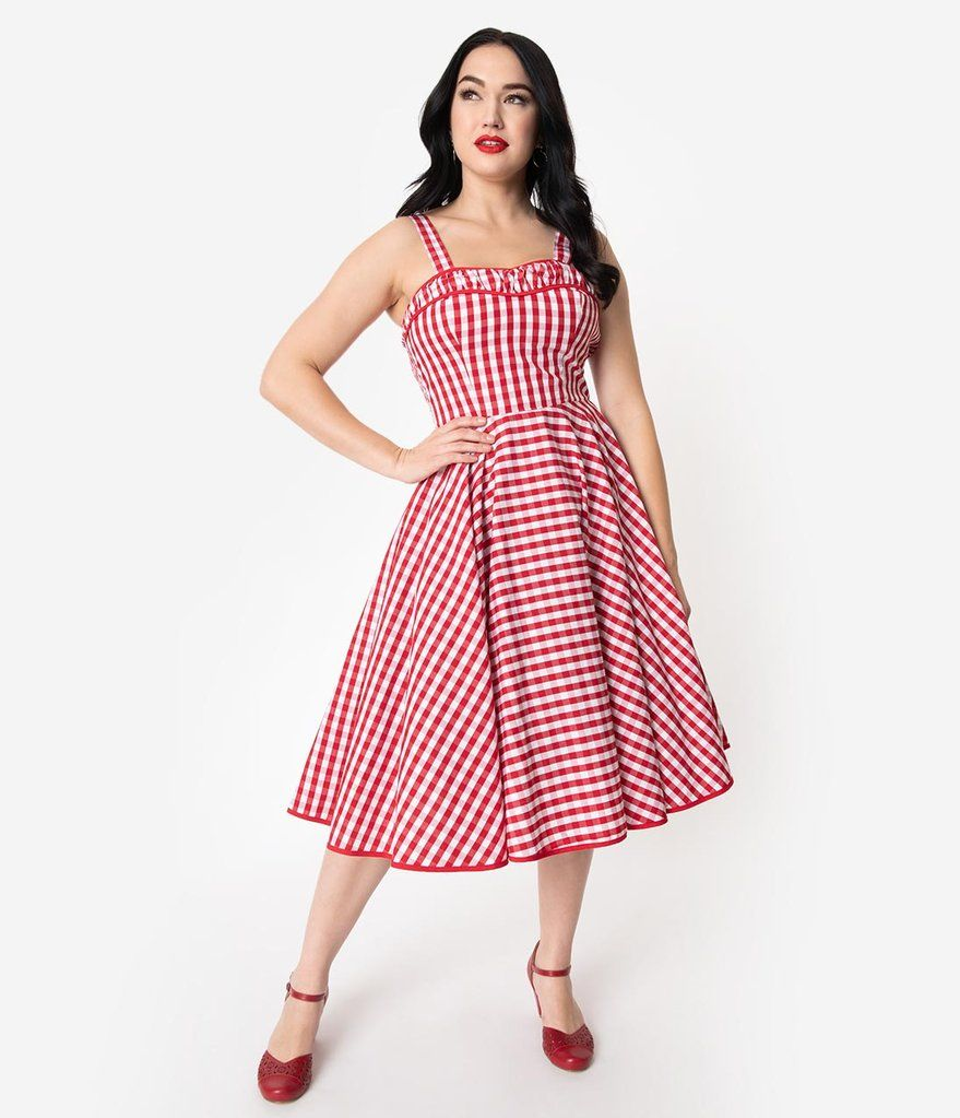 1ff3534f3d200 1950s Rockabilly Red & White Gingham Cotton Angie Swing Dress – Unique  Vintage