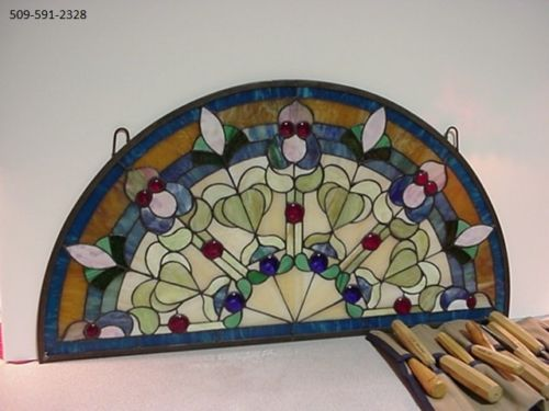Half Round 18 X 34 Stained Glass Transom Window Art Nouveau Red Cobalt Blue Window Art Stained Glass Stained Glass Window Panel