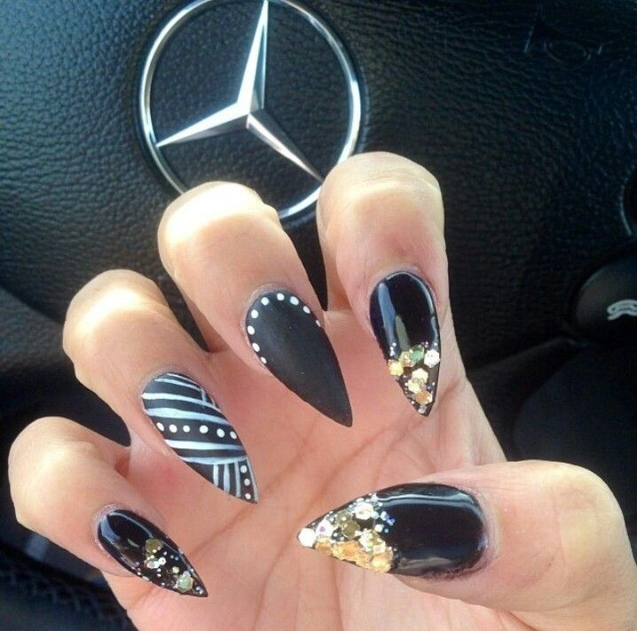 Black and gold stiletto - Long Pointy Nails - Google Search Pointy Fashion Nails