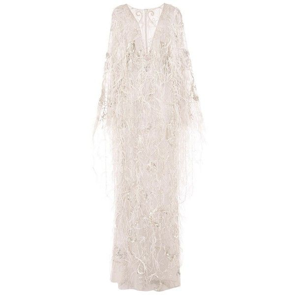Marchesa Re-Embroidered Ostrich Feather Applique Gown ($10,995) ❤ liked on Polyvore featuring dresses, gowns, pink long sleeve dress, long sleeve gown, beaded evening dresses, v neck dress and beaded evening gowns
