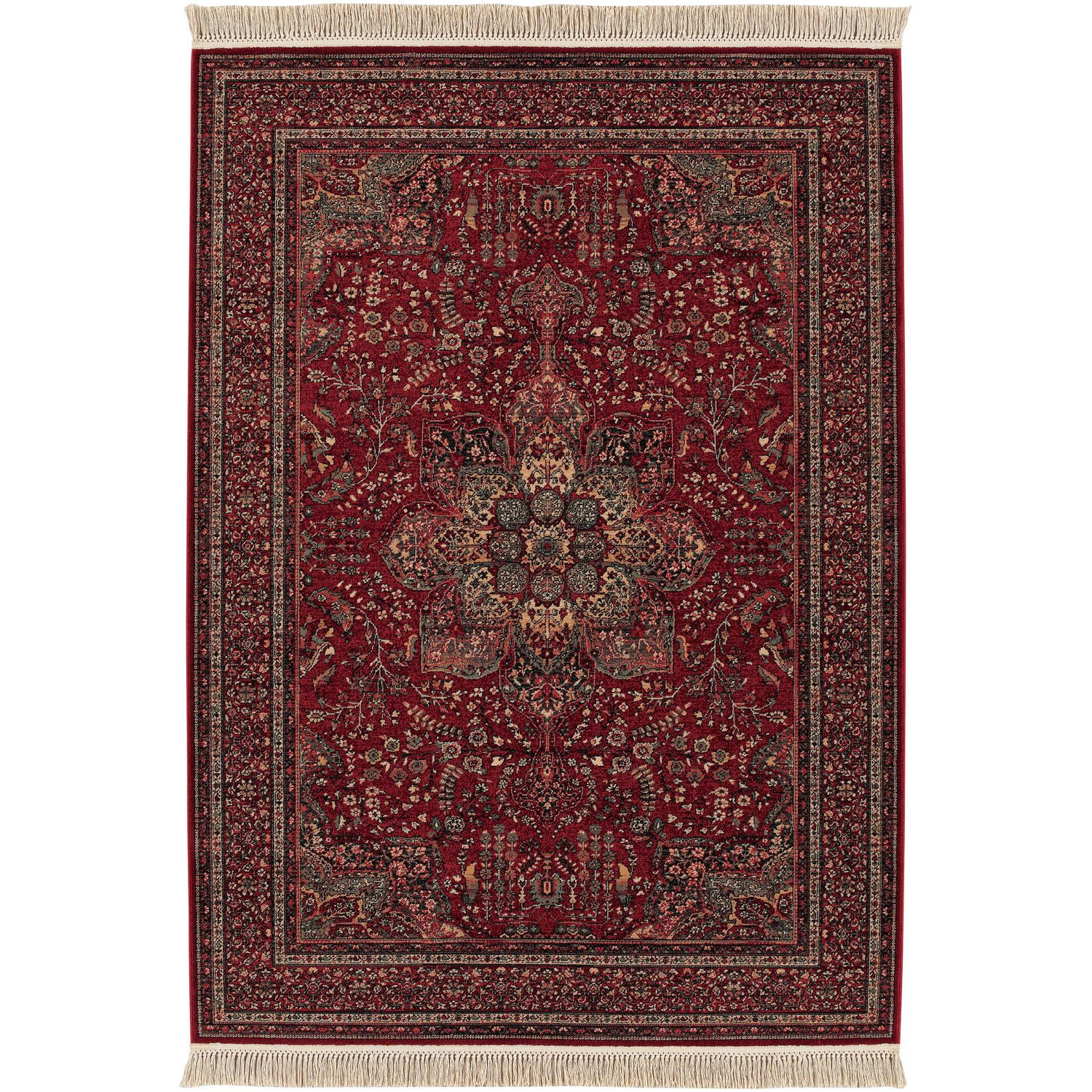 Couristan Kashimar All Over Center Medallion Antique Red Rug Red Wool Area Rug Red Oriental Rug Wool Area Rugs