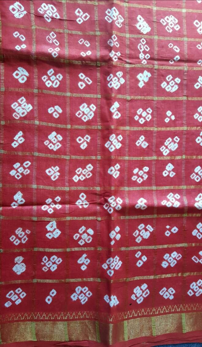 Vintage red and white chanderi pure cotton saree by COLOURMEHAPPYY on Etsy