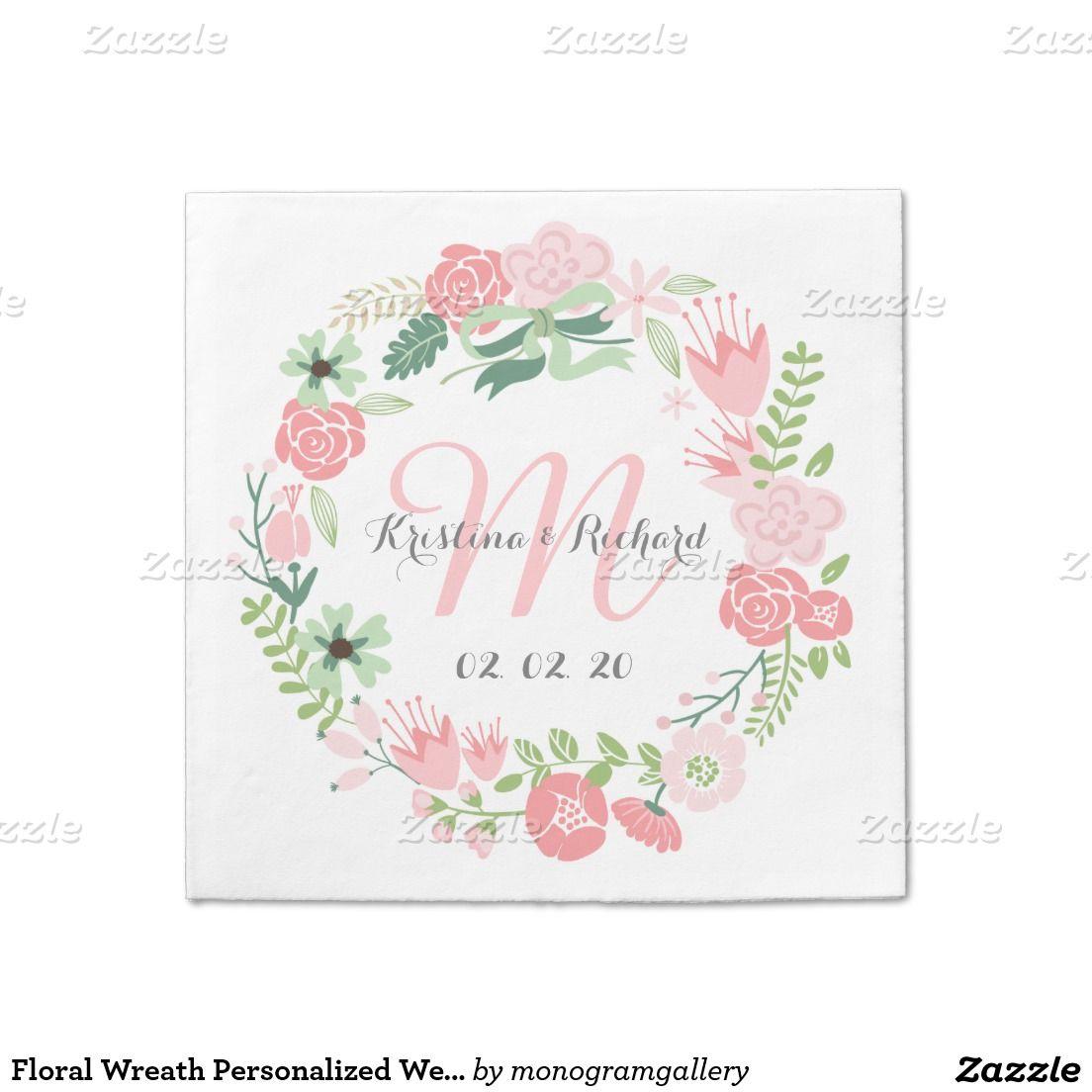 Floral Wreath Personalized Wedding Paper Napkins Standard Cocktail Napkin