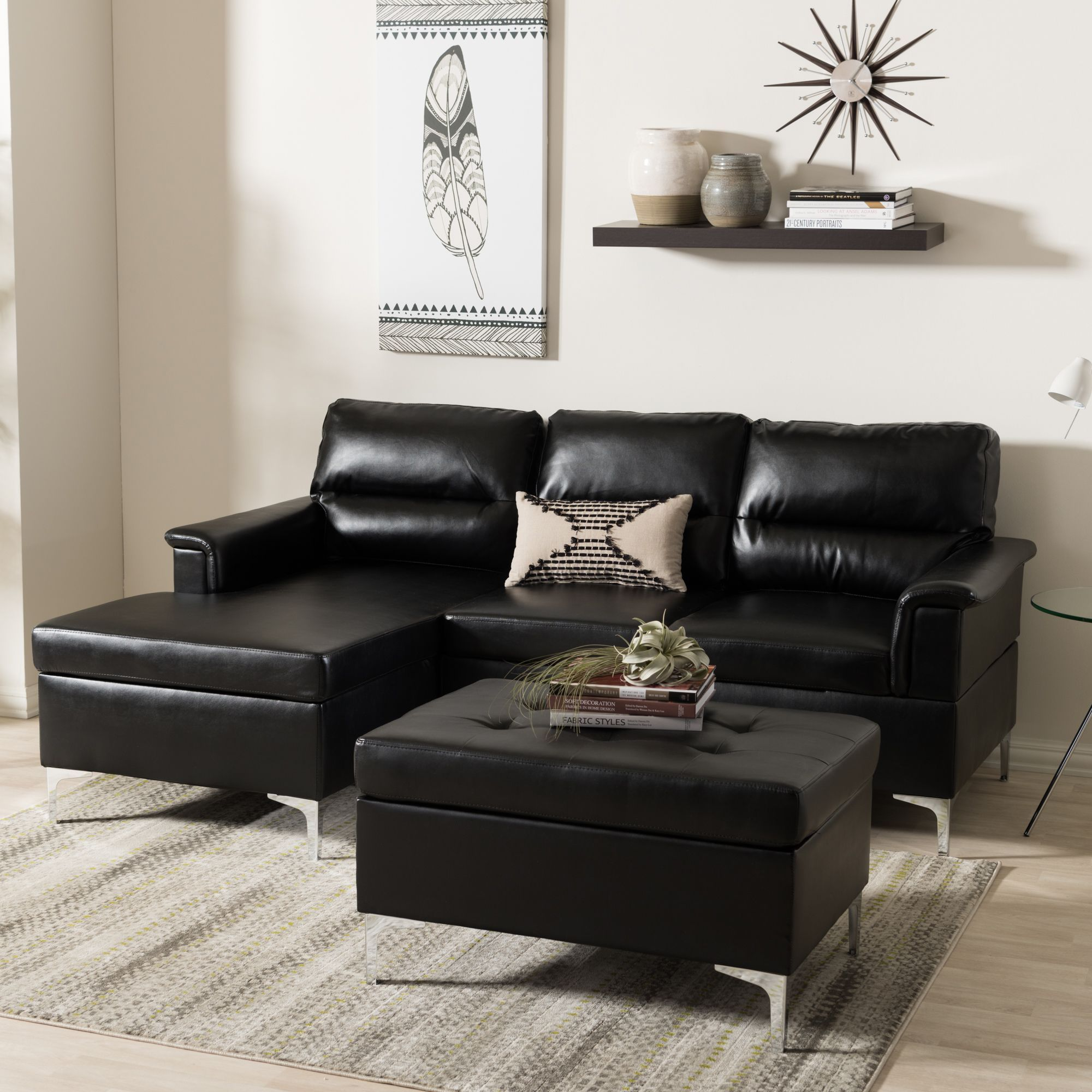 Baxton Studio Hagne Modern Black Faux Leather Sectional Ottoman