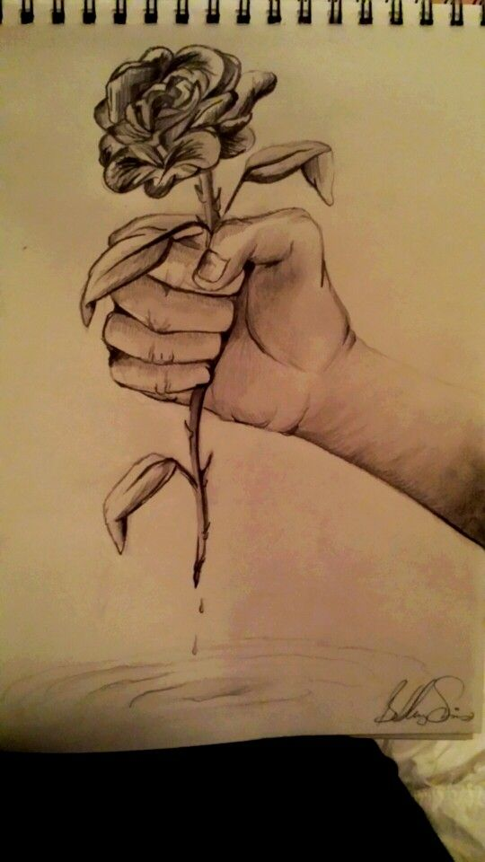 Hand Holding Flower Drawing Tutorial