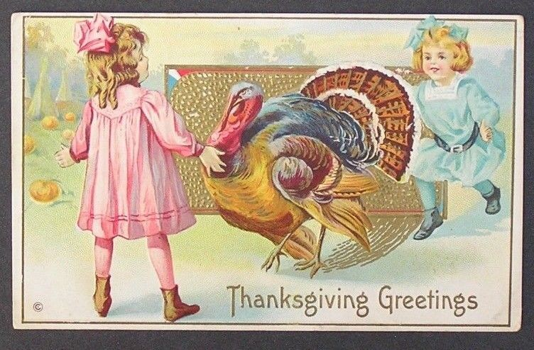 Thanksgiving postcard Cute Girls Turkey Pumpkins 1921 #Thanksgiving