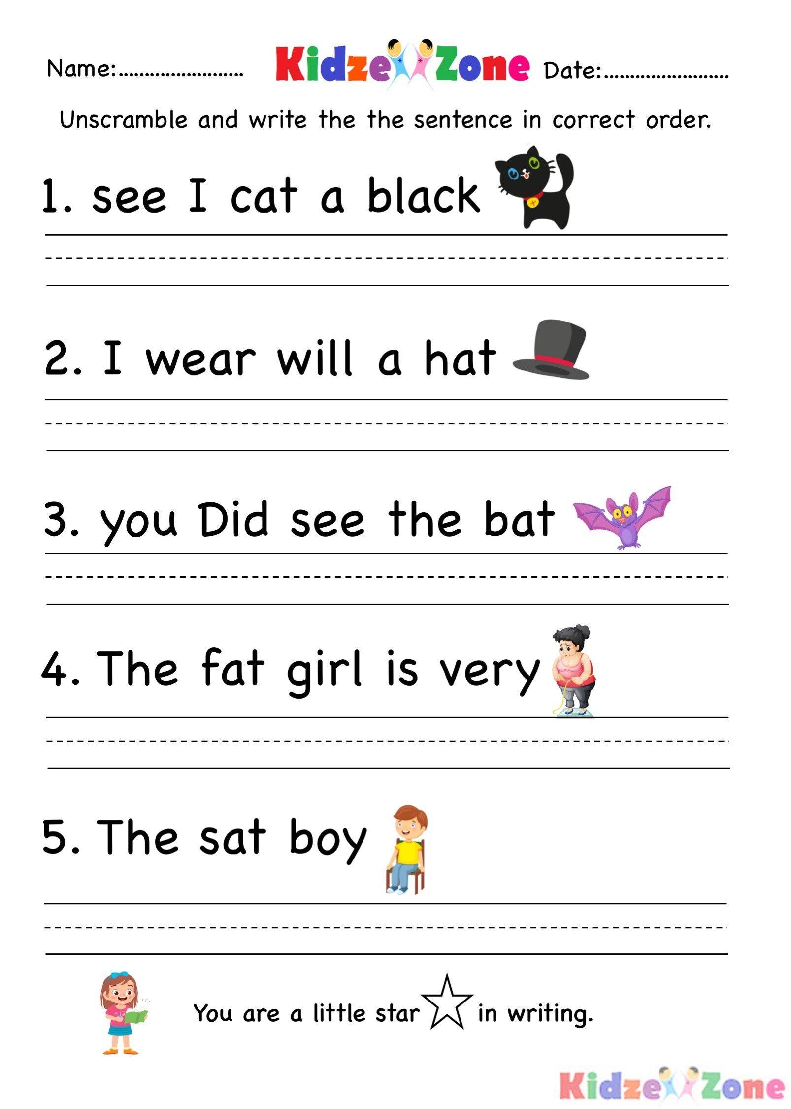 Unscramble Sentences Worksheets 1st Grade In 2020 Writing Sentences Worksheets Kindergarten Writing Kindergarten Worksheets