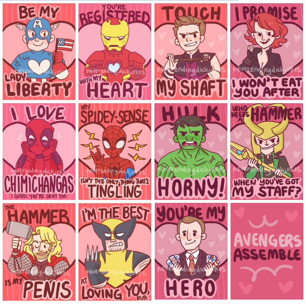 Ridiculous Avengers Valentine's Day cards.