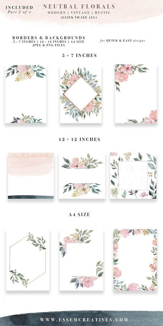 Neutral Watercolor Flowers Clipart, Watercolor Background, Rustic ...
