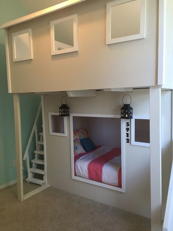 playhouse bed with stairs and a slide by skywritercreations 1400 kinderzimmer pinterest. Black Bedroom Furniture Sets. Home Design Ideas