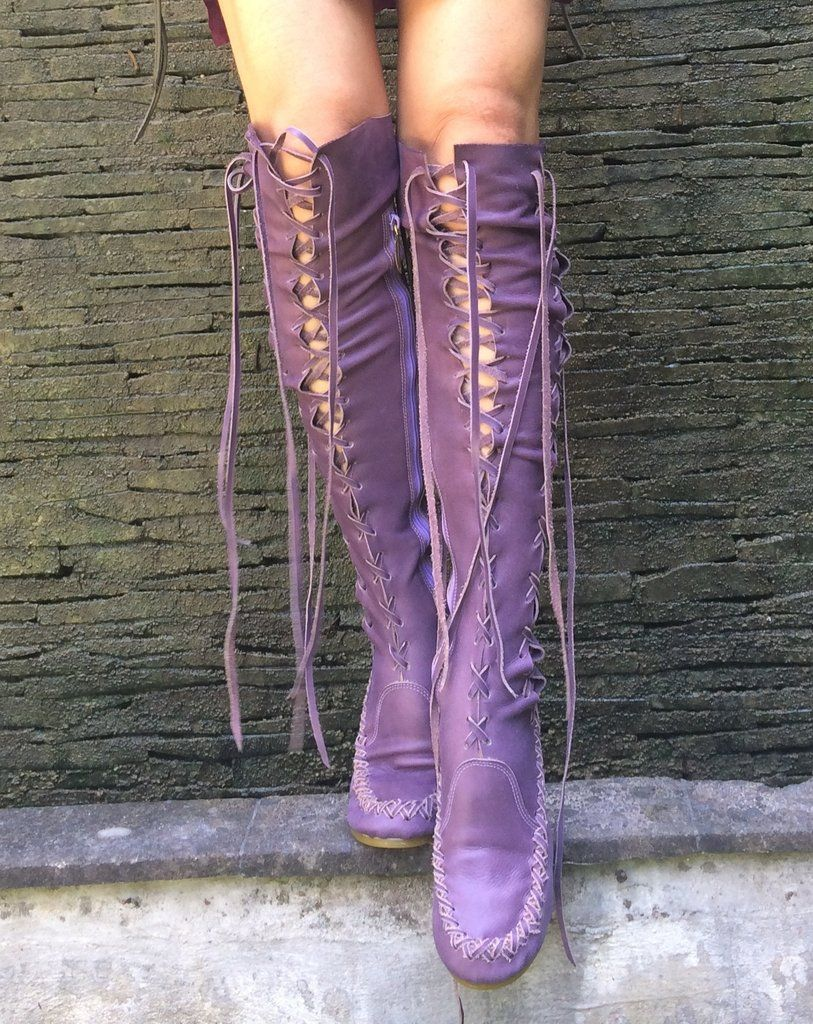 Lavender Pleather Knee High Boots