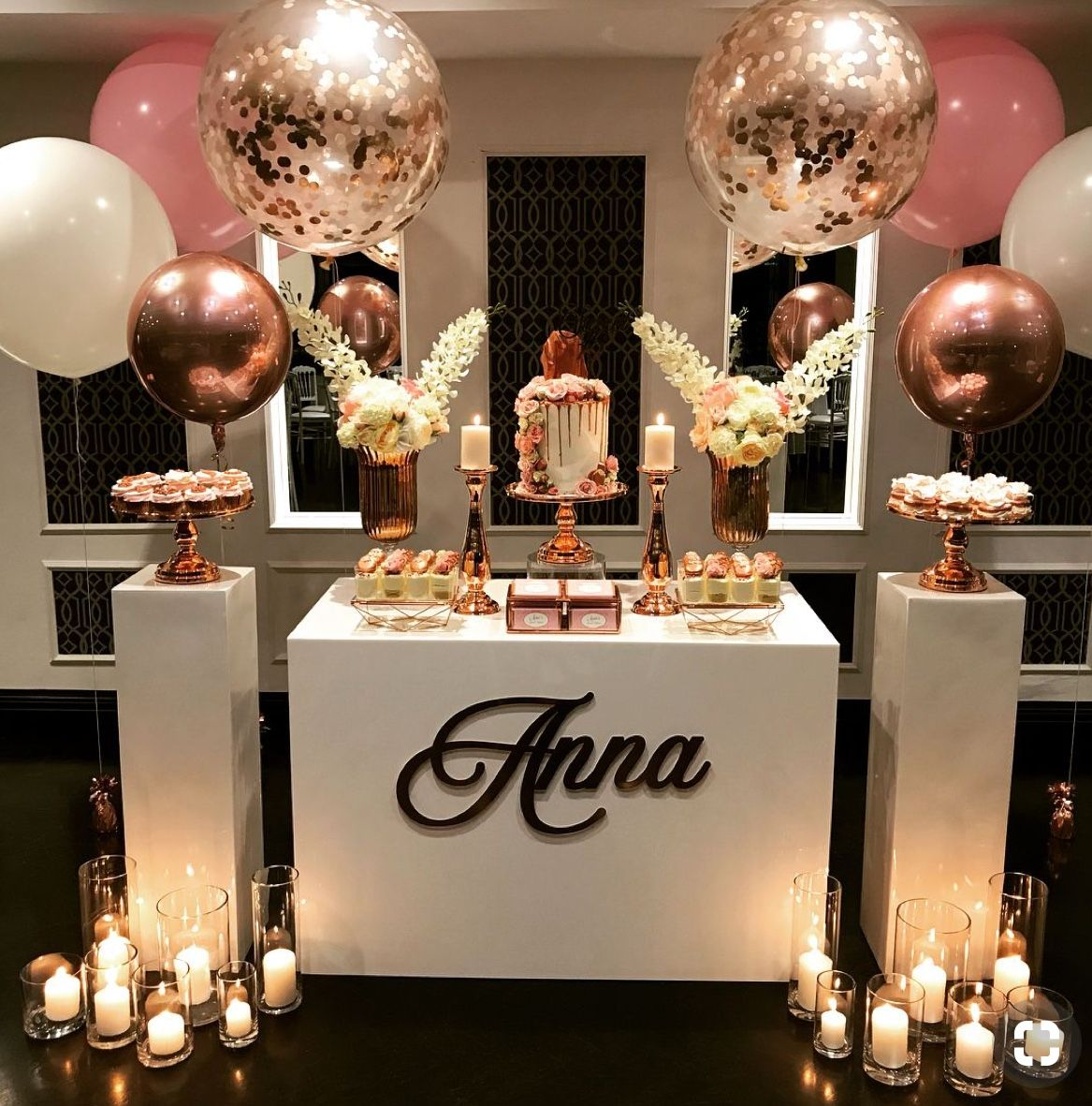 Pin By Angel On Candy S Table Gold Birthday Party Rose Gold
