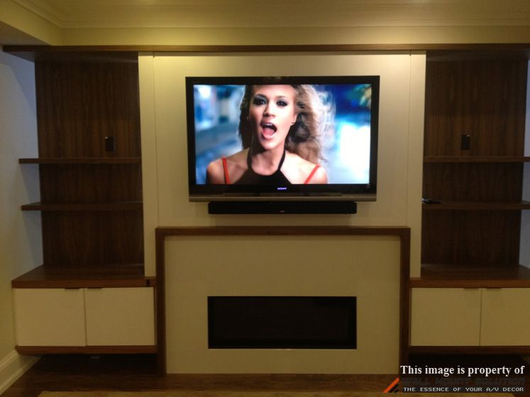 46 Sony Tv Mounted On A Custom Built Wall Over Fireplace