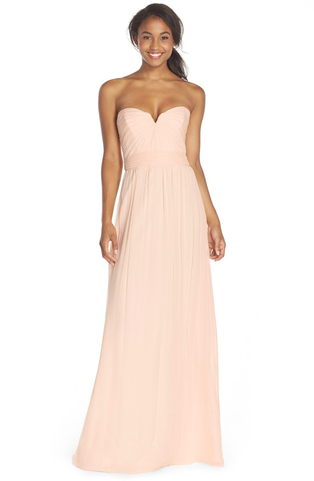 Amsale strapless silk chiffon gown in bellini maids for Silk chiffon wedding dress