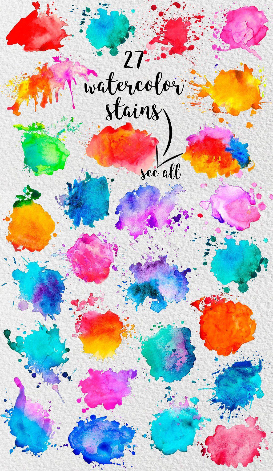 27 Watercolor Stains Watercolor Splash Watercolor Splatter