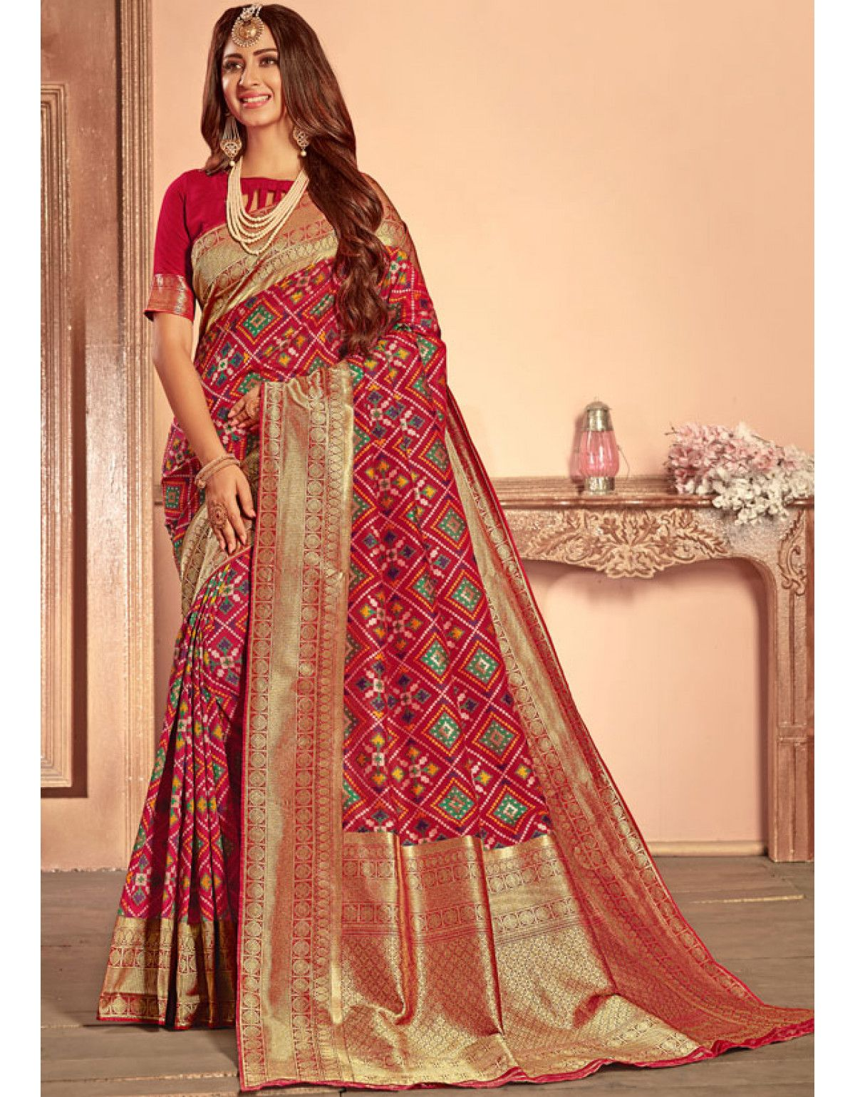 796f61c29a Berry Red Heavy Patola Silk Saree in 2019 | Traditional sarees ...