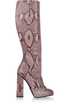 7f2a2a162 Gucci Horsebit-detailed python knee boots | NET-A-PORTER | Style ...