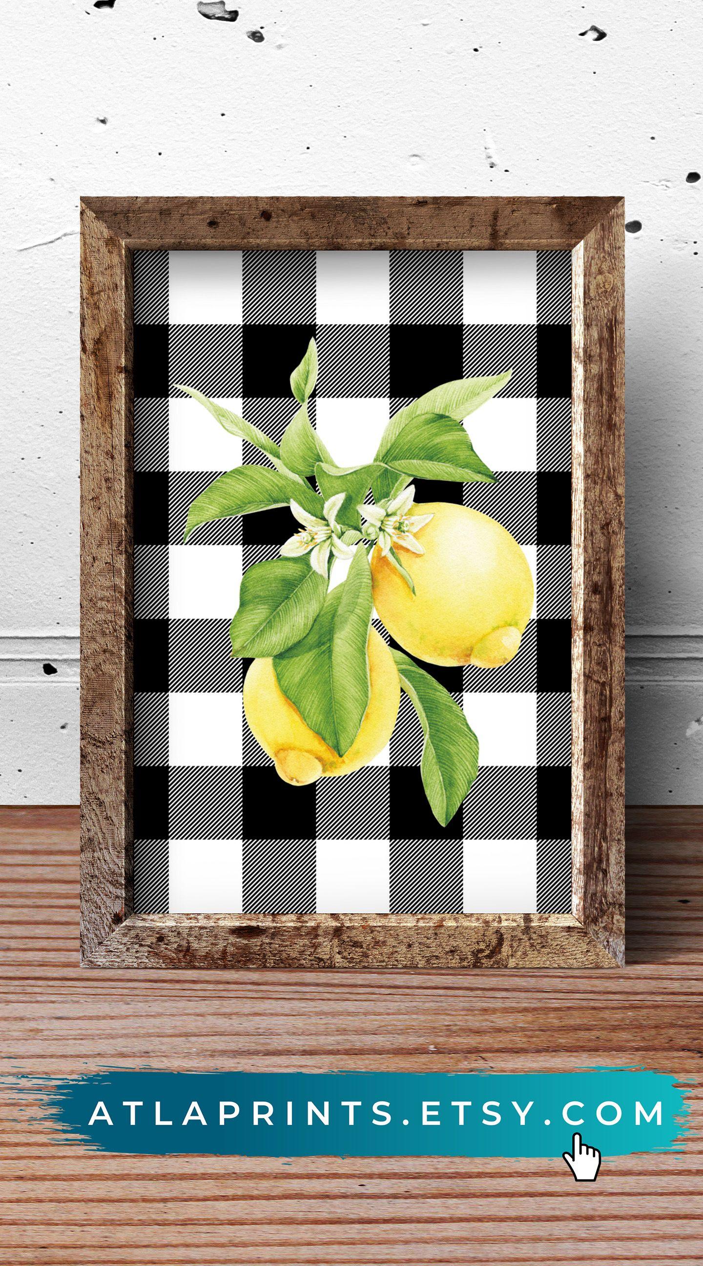 Buffalo Check Wall Art Lemon Decor Lemon Kitchen Decor Sunflower Kitchen Decor
