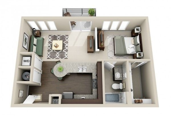 50 plans en 3d d appartement avec 1 chambres sims for Architecture de maison gratuit