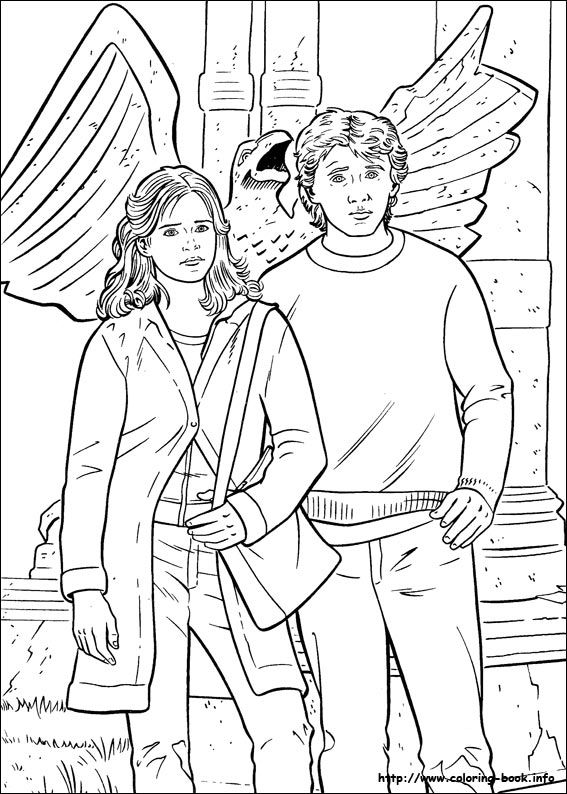 Ron with hermione coloring pages harry potter coloring pages kidsdrawing free coloring pages online