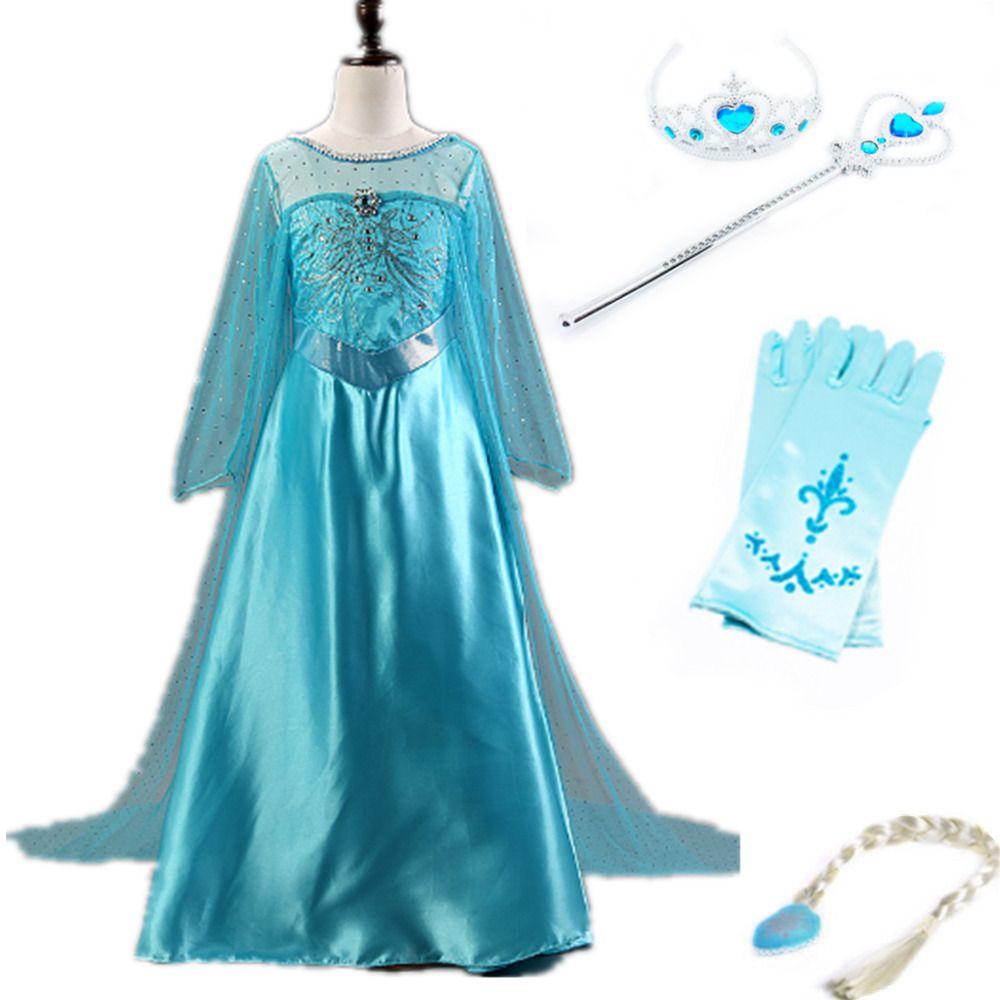 Frozen Disney Elsa Princess Party Cosplay Dress  Cosplay  blue crown wand gloves