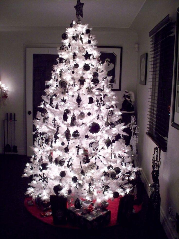 Black and White Christmas Tree Night Time Black