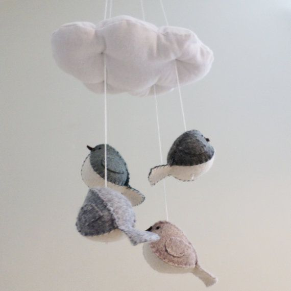 Gender neutral cloud and bird baby mobile in grey and white