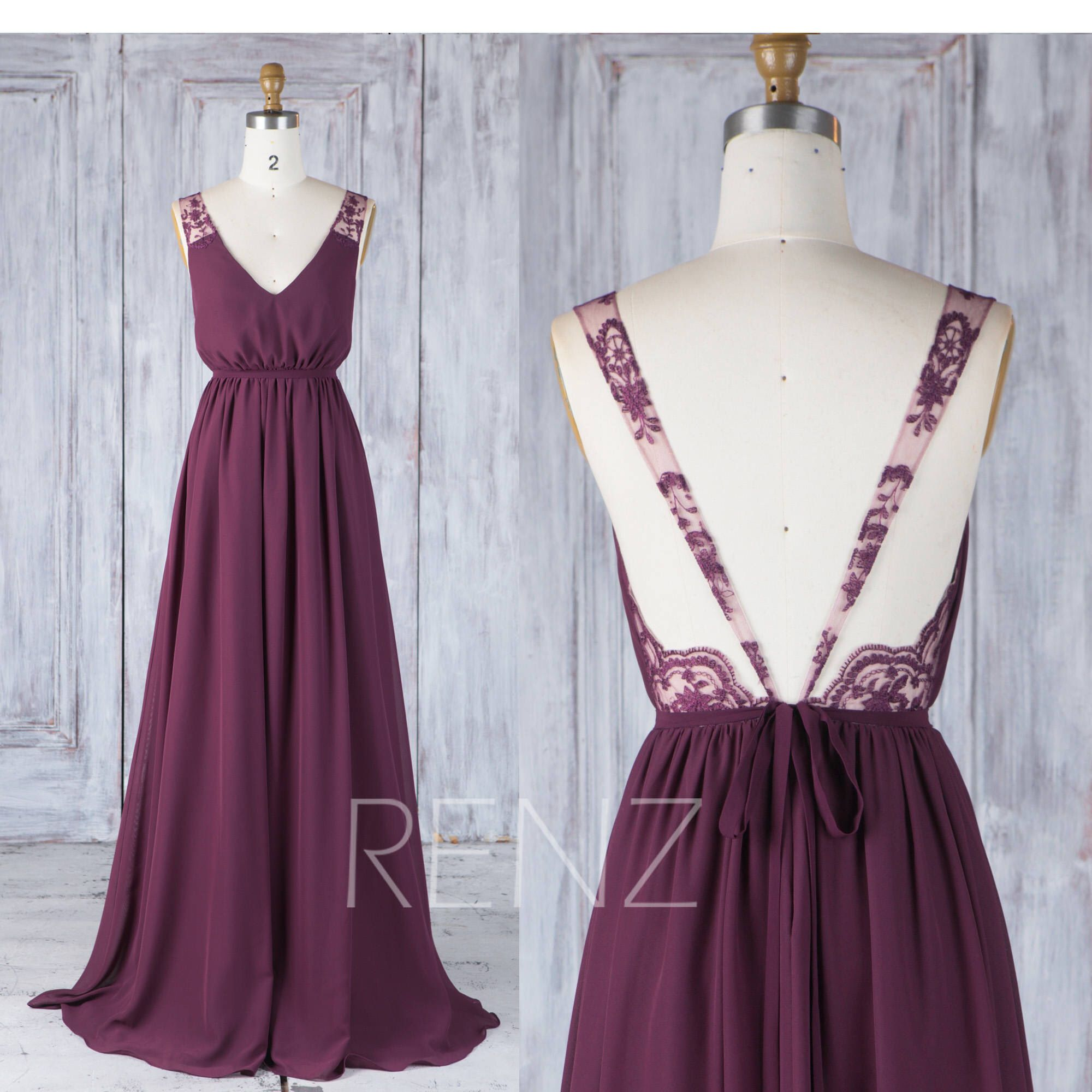Bridesmaid Dress Plum Chiffon Wedding Dress with Sash,V Neck Prom ...