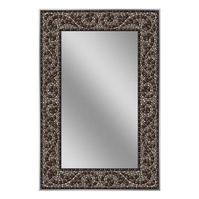 Deco Mirror 36 In X 24 In Frameless Mosaic Mirror In Espresso