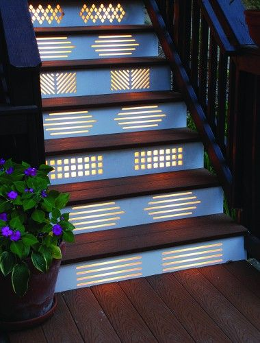 Talk About Being Creative The Patterns Of Light Shining Through These Risers Give A Whole New Meaning To Step Lighting Outdoor Deck Step Lights Outdoor Stairs