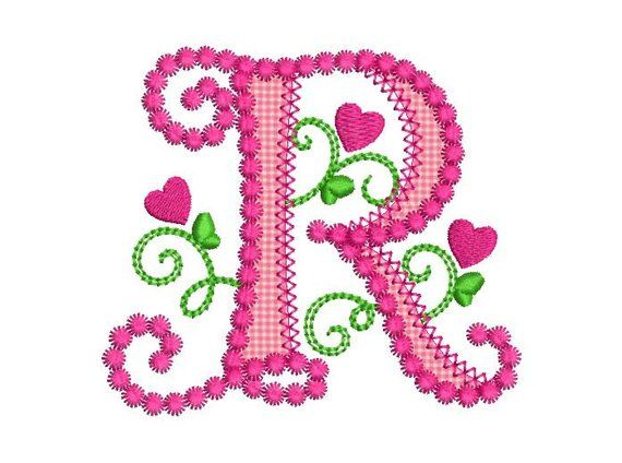 Cute Letter R Alphabet For Lil Princess Hearts Applique Embroidery