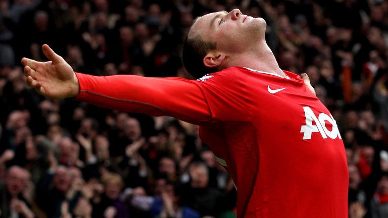 Wayne Rooney celebrates after his iconic bicycle kick goal ...