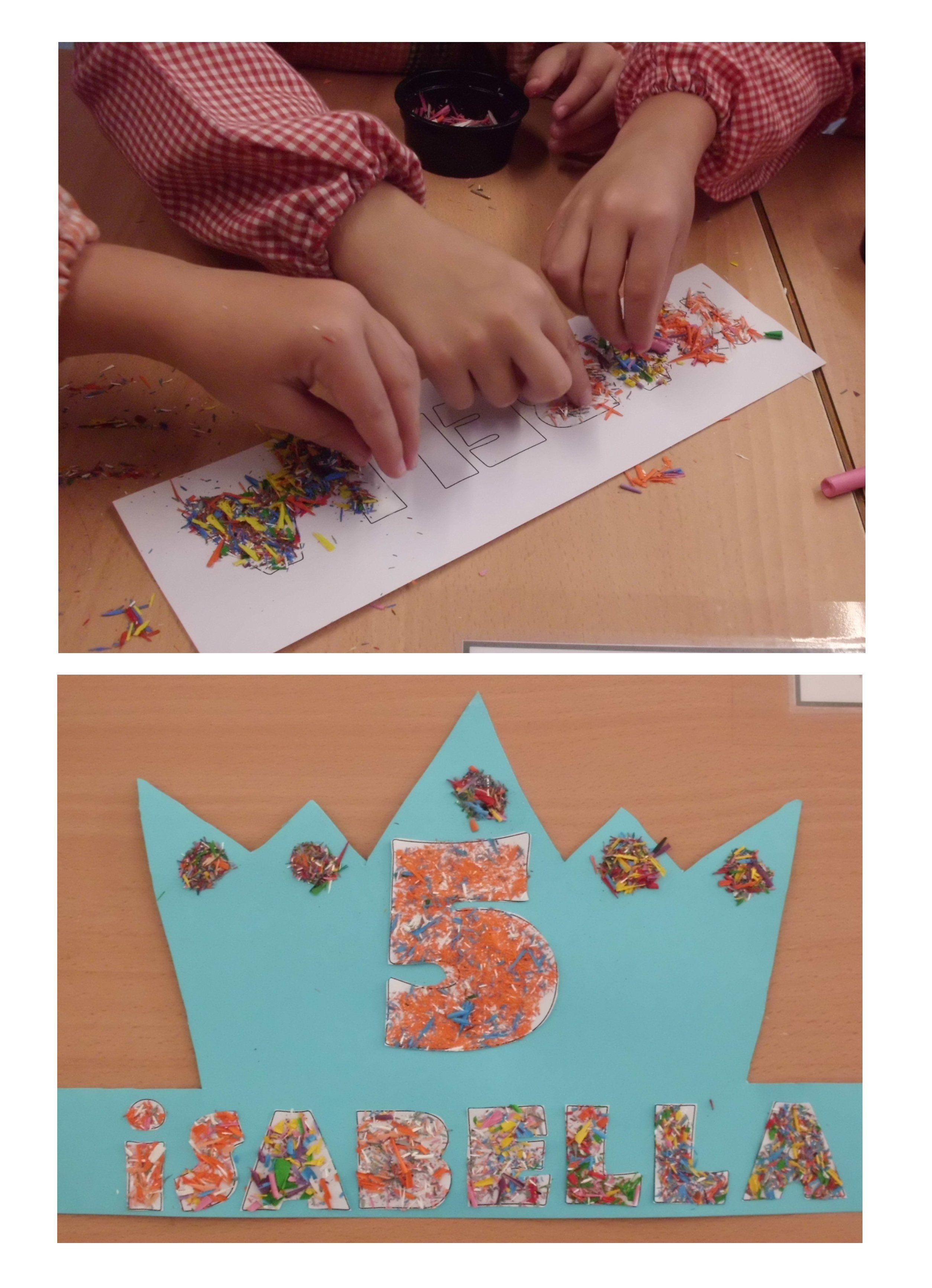P5- corona decorada amb punta de plastidecor que els mateixos nens han estat fent.
