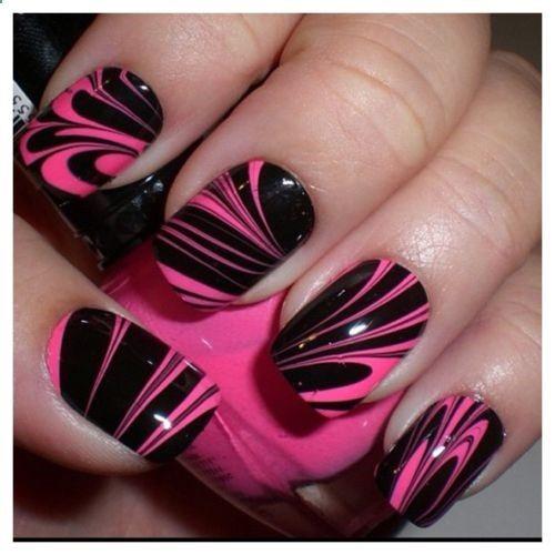 Nail Art Design Pink Black Water Marble Fabulous Of Looks Unhas Desenhadas Unhas Coloridas Unhas Bonitas