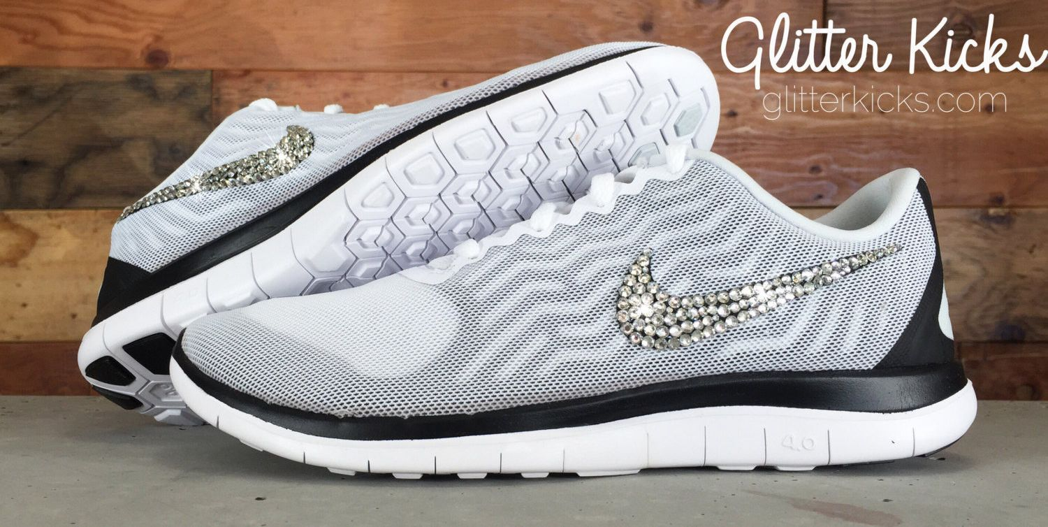 Women s Nike Free 4.0 V5 By Glitter Kicks - Hand Customized With Swarovski  Crystal Rhinestones - White Black 1d0a2aec4185