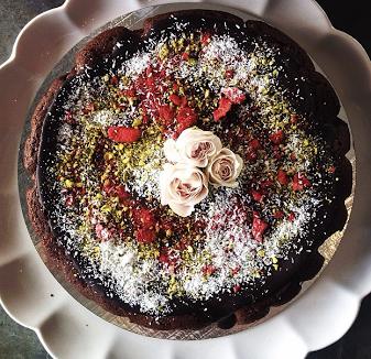 The Caker Flourless Dark Chocolate Cake with ganache (gluten free)
