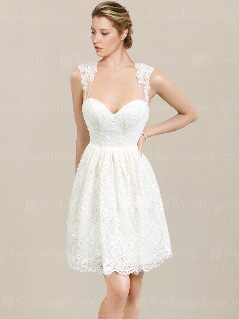 Short Lace Wedding Dress Features Sweetheart Neckline And Beaded Accents Tulle Straps Continue To The Back Forming A Keyhole Design Zipper Closure