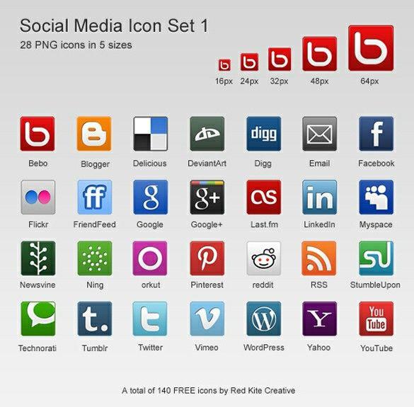 28 bellissime icone dei social media