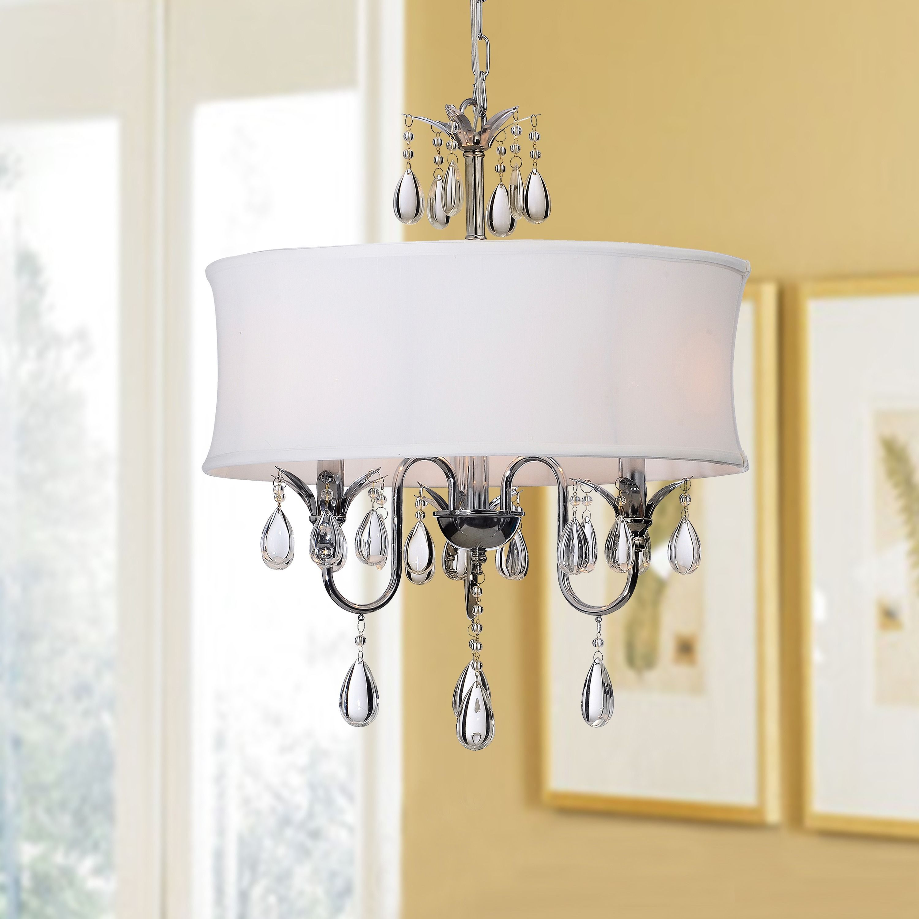 White Fabric Shade Crystal Modern Drum Full Size Chandeliers