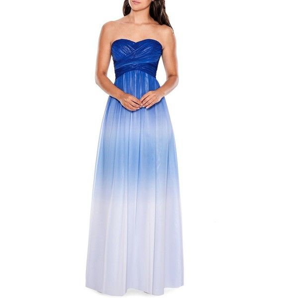 Decode 1.8 Strapless Ombre Gown ($259) ❤ liked on Polyvore featuring dresses, gowns, blue multi, ombre dress, blue dress, blue strapless dress, blue evening gown and sweetheart gowns