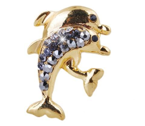 Gold Alloy Dolphin Shape Brooches