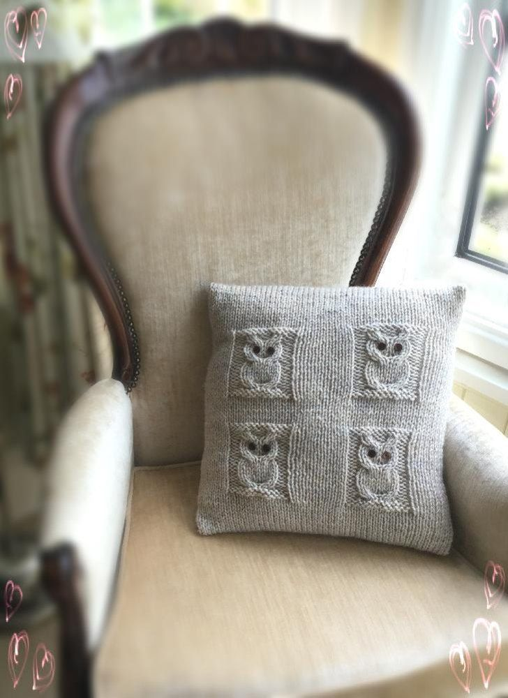 4 Owls Cushion Knitting pattern by The Lonely Sea
