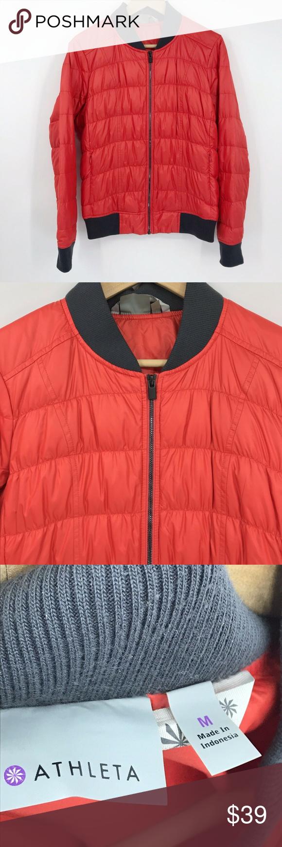 Athleta Goose Down Bomber Puffer Jacket Red Sz M Athleta Women S Down Bomber Jacket Full Zip Zip Pockets Ribbed Cuffs Neckli Red Jacket Jackets Puffer Jackets [ 1740 x 580 Pixel ]